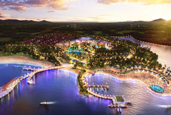 Hilton Doubltree hotel Resort evening view- Xinglong Lakeside inPLACE Design Architect